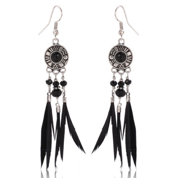 Black Feather Earrings Alloy Pendant Crystal Hook Earrings